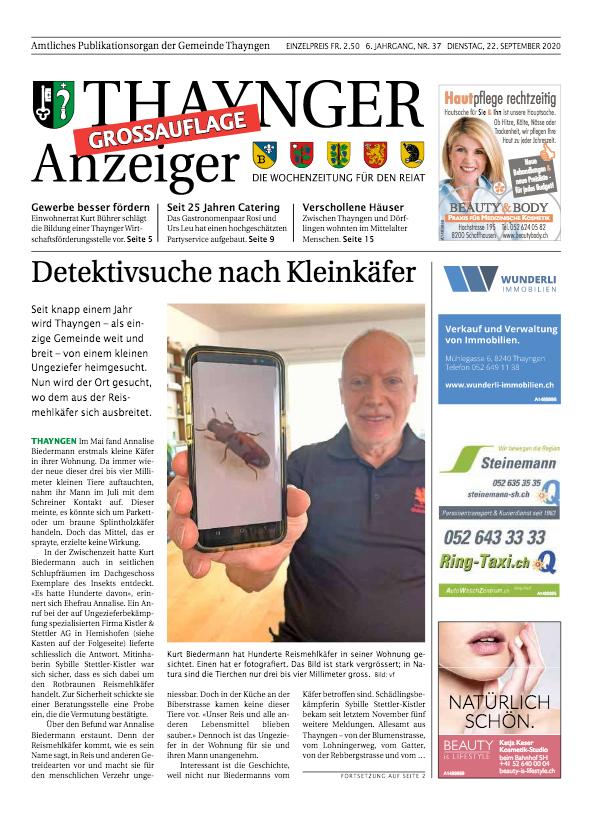Thaynger Anzeiger vom 22. September 2020