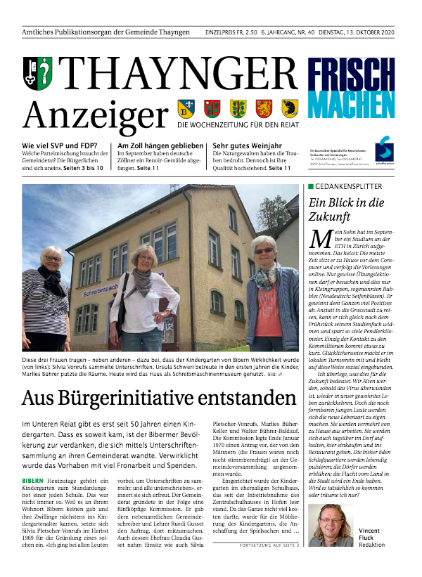 Thaynger Anzeiger vom 13. Okober 2020