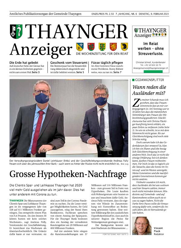 Thaynger Anzeiger vom 9. Februar 2021