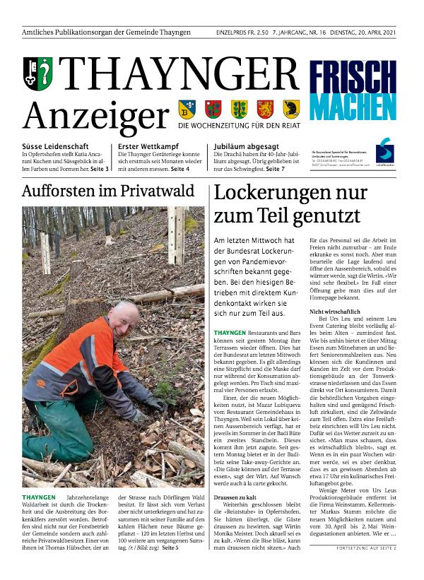 Thaynger Anzeiger vom 20. April 2021