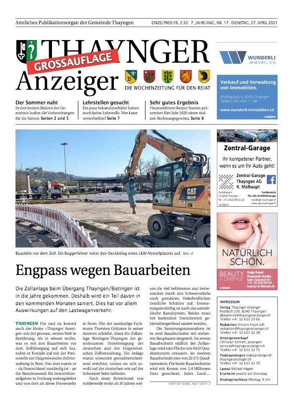 Thaynger Anzeiger vom 27. April 2021